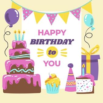 Feliz cumpleaños a ti con pastel dulce y regalos