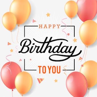 Feliz cumpleaños tipografía de celebración con globos y confeti cayendo