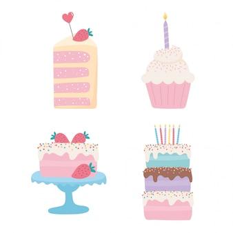 Feliz cumpleaños, tortas dulces magdalena frutas velas decoración fiesta fiesta conjunto de iconos festivos