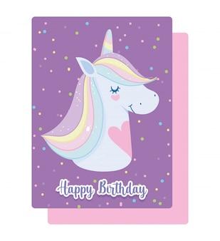 Feliz cumpleaños unicornio con corazones tarjeta de dibujos animados de pelo de cuerno de arco iris