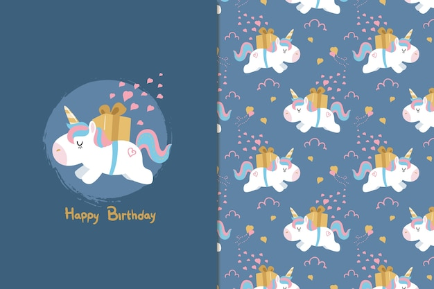 Feliz cumpleaños unicornio de patrones sin fisuras