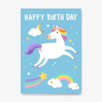 Feliz cumpleaños unicornio tarjeta vector