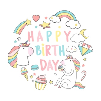 Feliz cumpleaños unicornio con vector de tarjeta de elementos mágicos