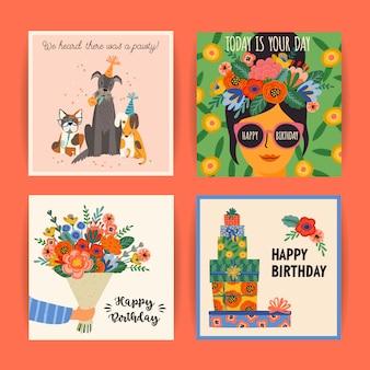 Feliz cumpleaños. vector conjunto de lindas ilustraciones.