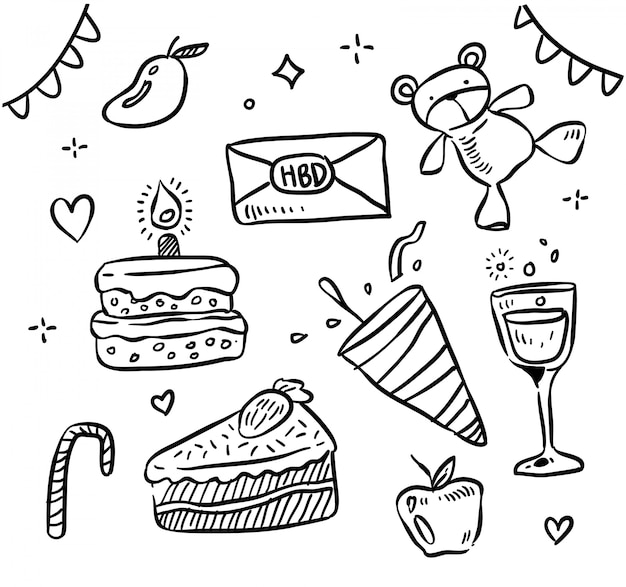 Feliz cumpleaños vector cumpleaños doodle ilustración