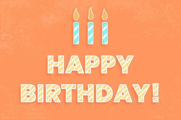 Feliz cumpleaños vector de tipografía de fuente de bastón de caramelo