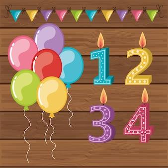 Feliz cumpleaños velas lindos números