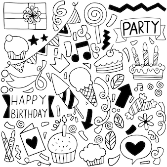 Feliz cumpleaños verano fiesta doodle elementos composición