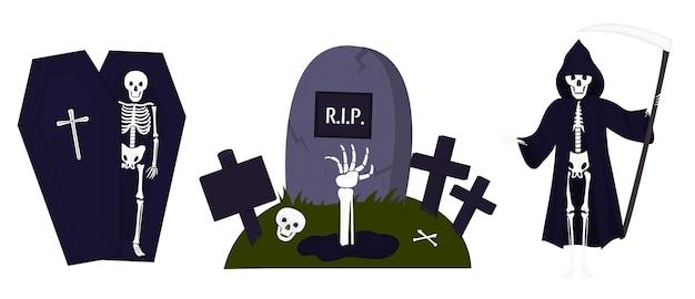 Feliz decoración de fiesta de halloween. un esqueleto en un ataúd. muerte con guadaña.