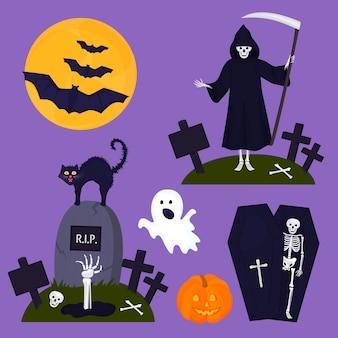 Feliz decoración de fiesta de halloween un esqueleto en un ataúd muerte con un murciélago de calabaza fantasma de gato guadaña