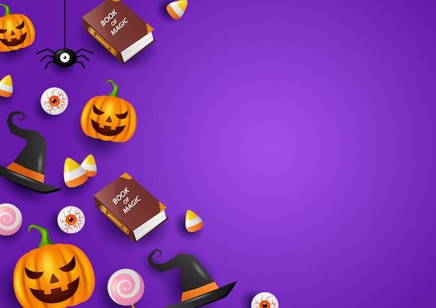 Feliz decoración de halloween con fondo morado ilustración vectorial Vector Premium