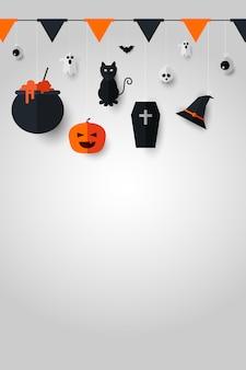 Feliz decoración de halloween sobre fondo blanco.