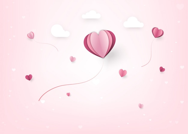 Feliz decoración de san valentín con corazones y estilo de corte de papel en la nube