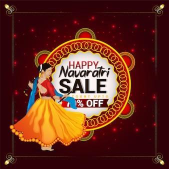 Feliz descuento de venta especial de navratri con ilustración creativa de niña dandiya