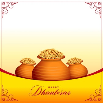Feliz dhanteras banner festival hindú con ollas de monedas de oro