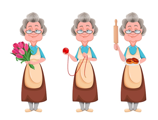 Feliz dia de los abuelos. abuela alegre