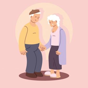 Feliz día de los abuelos, abuelo y abuela, pareja de ancianos cogidos de la mano