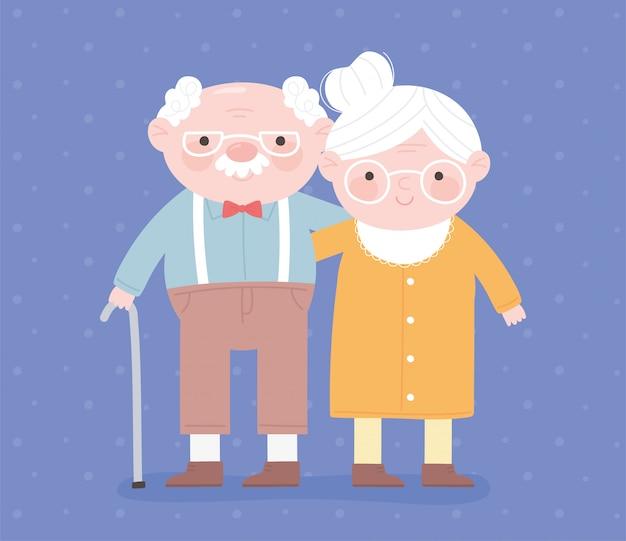 Feliz día de los abuelos, abuelo con bastón y tarjeta de dibujos animados de personaje de abuela