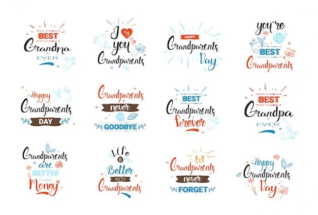 Feliz día de abuelos banners de tarjetas de felicitación conjunto de texto sobre fondo blanco