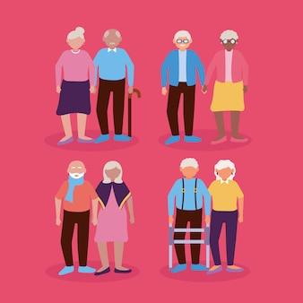Feliz día de los abuelos diseño plano