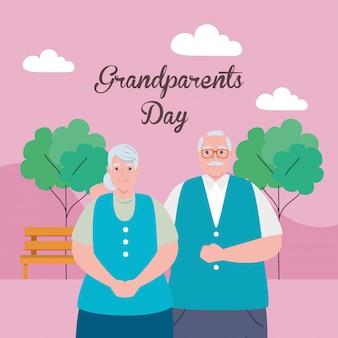 Feliz día de los abuelos con linda pareja de ancianos en el parque, diseño de ilustración