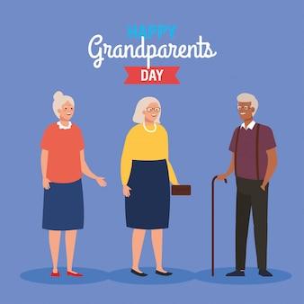 Feliz día de los abuelos con lindas personas mayores diseño de ilustración vectorial
