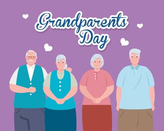 Feliz día de los abuelos con lindo diseño de ilustración de personas mayores