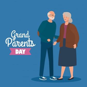 Feliz día de los abuelos con lindo diseño de ilustración de vector de pareja mayor