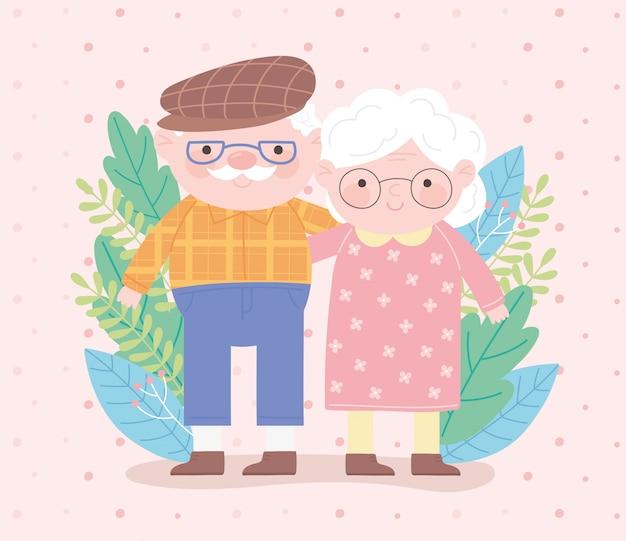 Feliz día de los abuelos, pareja de ancianos con gafas y deja la tarjeta de dibujos animados de personaje de naturaleza