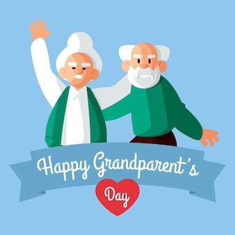 Feliz día de los abuelos con la pareja de ancianos