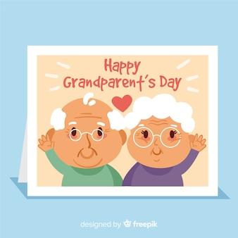 Feliz día de los abuelos, tarjeta de felicitación con personaje de abuela y abuelo