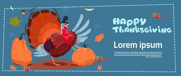 Feliz día de acción de gracias banner. cosecha tradicional de otoño con pavo