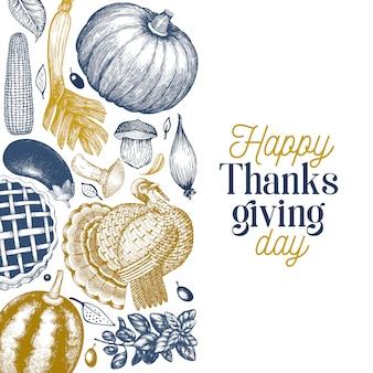 Feliz día de acción de gracias banner. ilustraciones dibujadas a mano. saludo plantilla de acción de gracias en estilo retro.