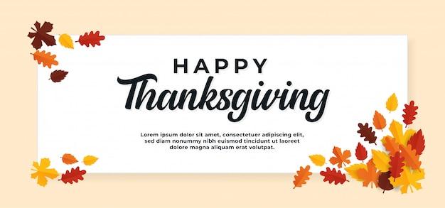 Feliz día de acción de gracias banner de texto con hojas secas de otoño