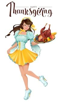 Feliz día de acción de gracias. el camarero linda chica trae una bandeja de pavo asado, verduras y frutas. aislado en la ilustración de dibujos animados blanco