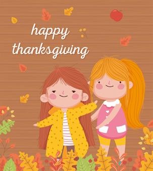 Feliz día de acción de gracias chicas sonrientes caen deja celebración