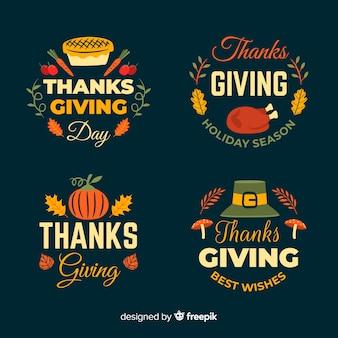 Feliz día de acción de gracias colección de insignias en estilo dibujado a mano