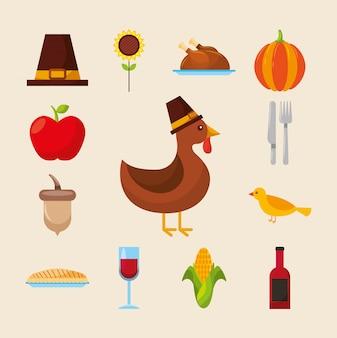 Feliz día de acción de gracias conjunto de iconos de diseño