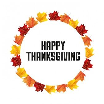 Feliz día de acción de gracias en corona de hojas