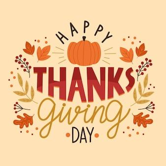 Feliz día de acción de gracias diseño de letras