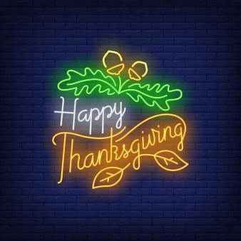 Feliz día de acción de gracias en estilo neón