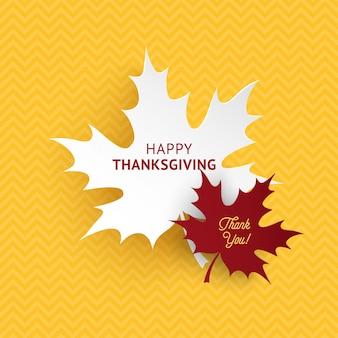 Feliz día de acción de gracias hojas de papel de otoño