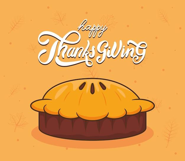 Feliz día de acción de gracias letras de celebración con pastel dulce