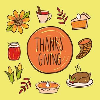 Feliz día de acción de gracias letras con iconos de conjunto ilustración de estilo de dibujo a mano