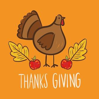 Feliz día de acción de gracias letras con ilustración de estilo de dibujo a mano de turquía
