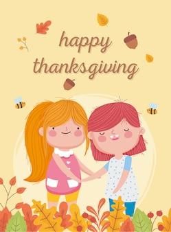 Feliz día de acción de gracias lindas niñas bellotas abejas hojas caen