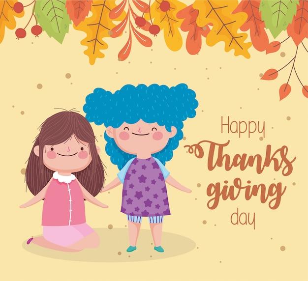 Feliz día de acción de gracias lindas niñas caen hojas celebración