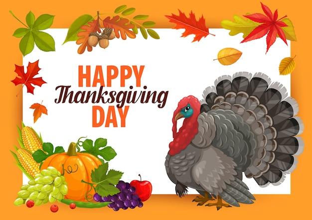 Feliz día de acción de gracias marco con pavo, calabaza y cosecha de otoño con hojas caídas. felicitación de acción de gracias, saludo de evento de vacaciones de temporada de otoño