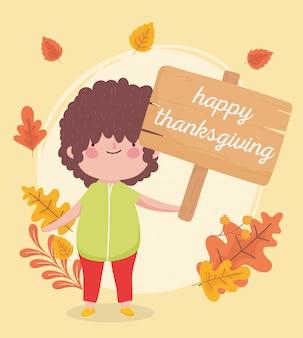 Feliz día de acción de gracias niño con junta