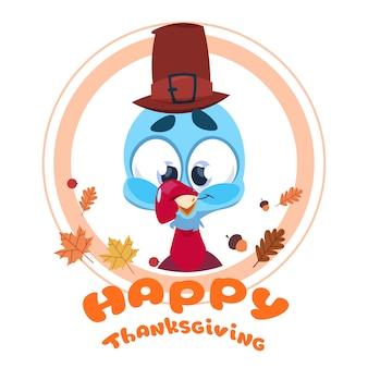 Feliz día de acción de gracias otoño tradicional cosecha tarjeta de felicitación con turquía